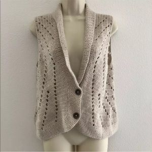 Cabi cardigan sleeveless open knit angora blend